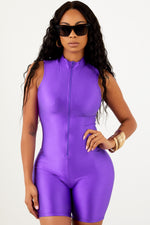 Purple Athletic Zip Up Unitard