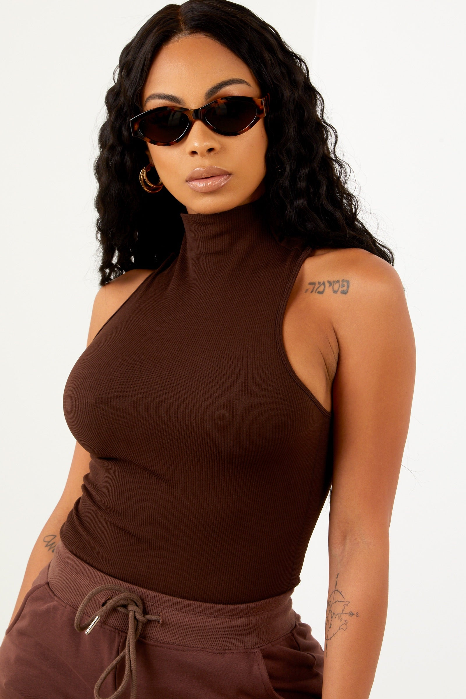Brown Basic Mock Neck Top