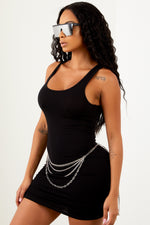 Black Basic Mini Racer Back Dress