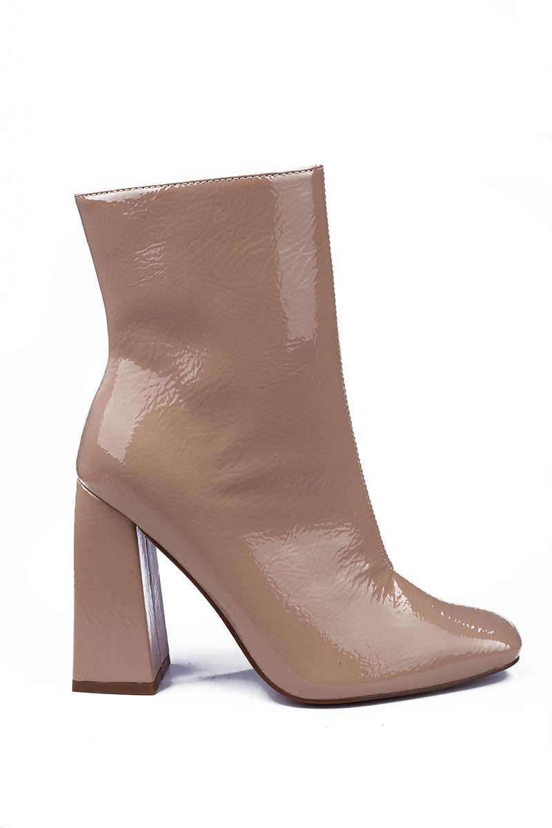 Nude Block Heel Ankle Boot