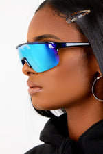 Blue Iridescent Moto Sunglasses
