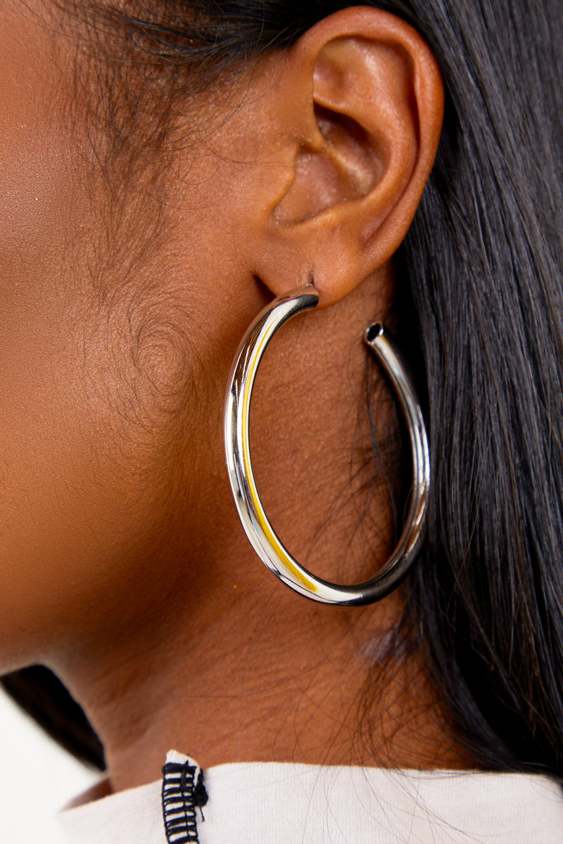 Silver Basic Medium Hoops