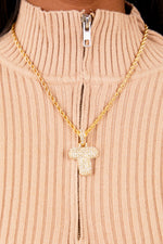 Diamond Letter T Necklace- Gold