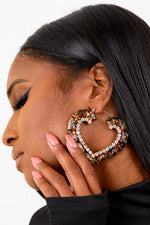 Leopard Bamboo Heart Diamond Earrings