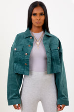 Teal Cropped Corduroy Jacket