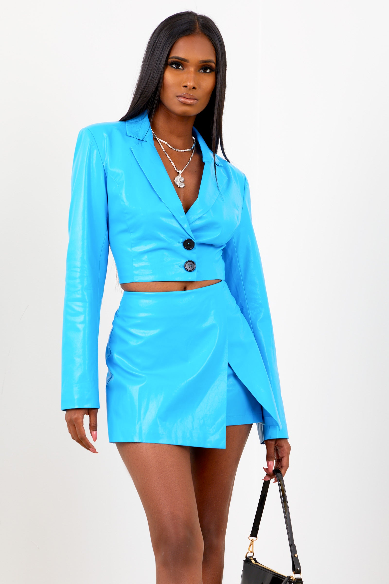 Sorella Blue Cropped PU Blazer Top