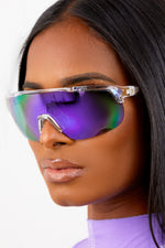 Purple Iridescent Moto Sunglasses