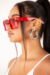 Red Square Retro Frame Sunglasses