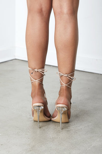 Nude Prickling Pu leather Lace Up Heel