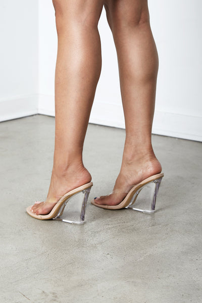 Nude Kim Clear Perspex Wedge Sandal