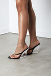 Black Kim Clear Perspex Wedge Sandal