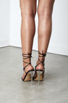 Black Prickling Pu leather Lace Up Heel