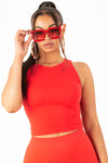 Red Basic Ribbed Crop Top