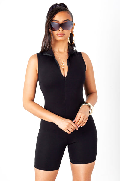 Black Mock Neck Zip Up Unitard