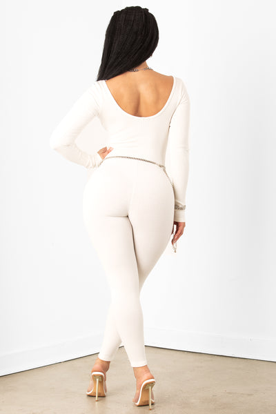 White Ribbed Scoop Neck Jumpsuit