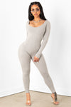 Grey Ribbed Scoop Neck Jumpsuit