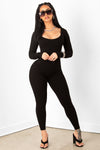 Black Ribbed Scoop Neck Jumpsuit