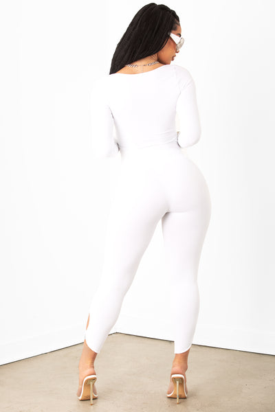 White Key Hole Legging