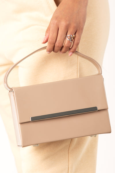 Nude Patent Rectangular Box Bag