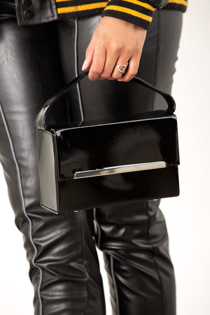 Black Patent Rectangular Box Bag