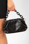 Black Ruched Chain Bag