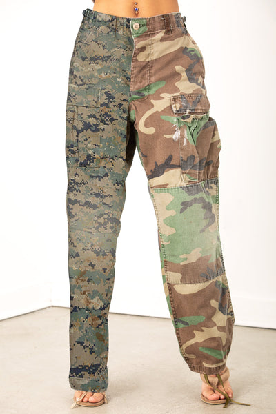 Vintage Reworked 2 Tone Desert Camo Pant - GREEN/GREEN