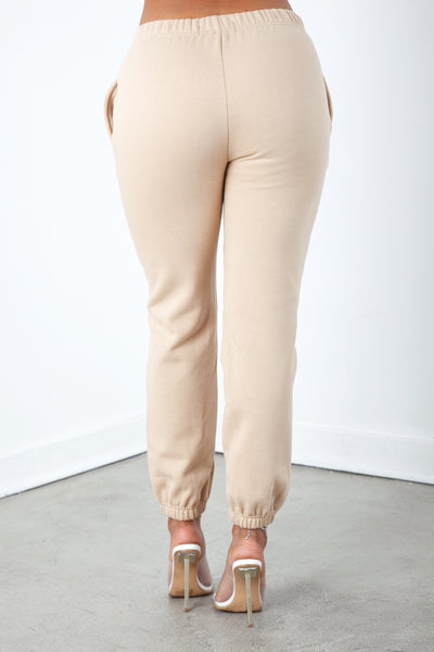 Tan Solid Sweatpants