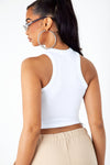 White Ribbed Thick Band Tank
