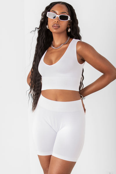 White Ribbed Deep V Crop Top
