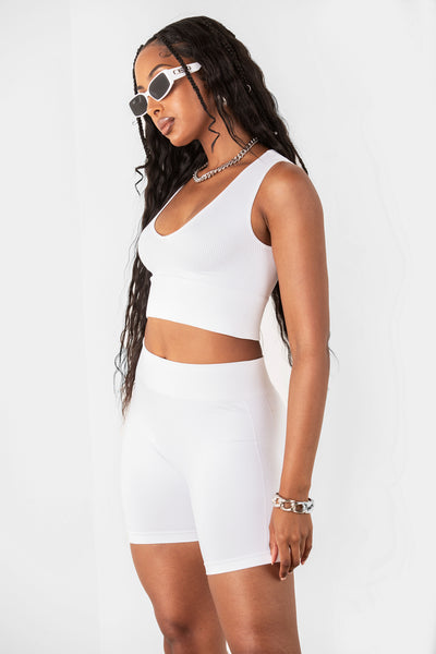 White Mini Basic Ribbed Biker Shorts