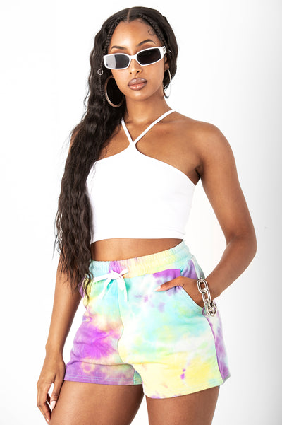 Tie Dye French Terry Shorts Yellow