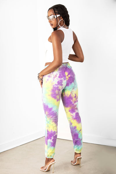 Yellow/Purple Tie Dye Joggers