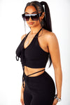 Black Ribbed Halter & Pant Set