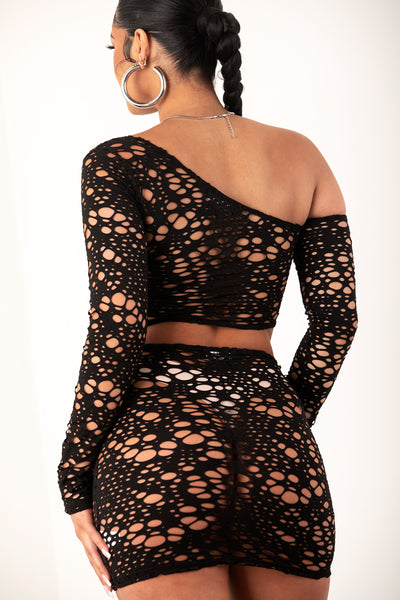 Black Fishnet Crop Skirt Set