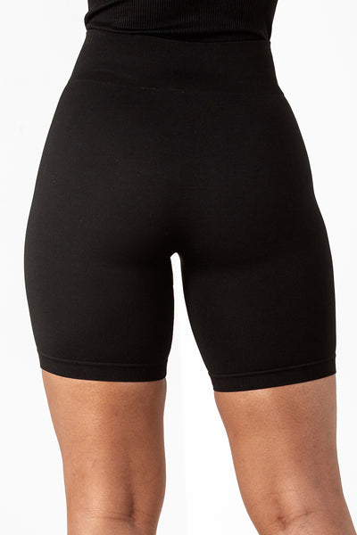 Black Basic Ribbed Cycle Shorts