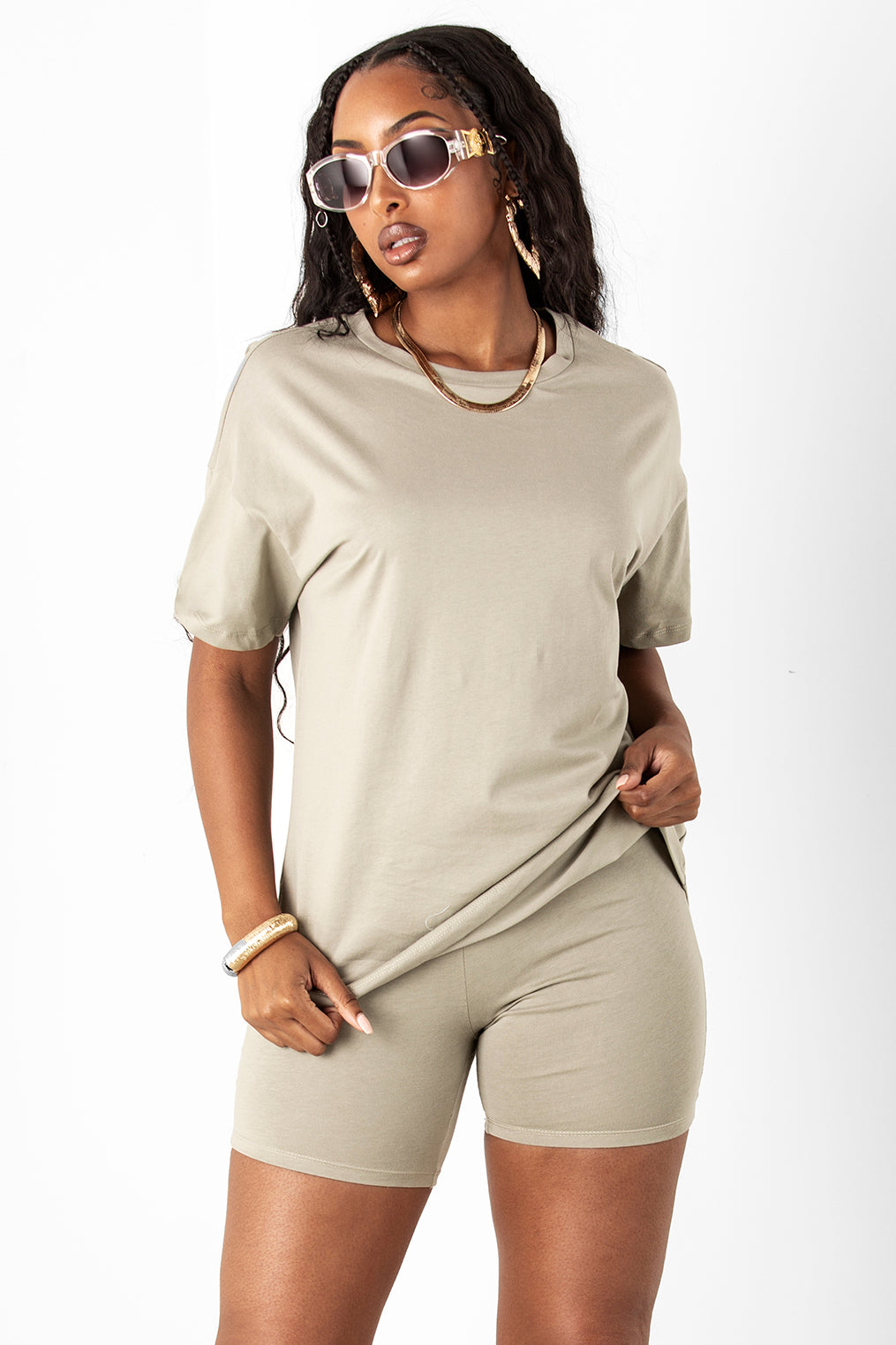 Olive Cotton Boyfriend Tee & Short Set
