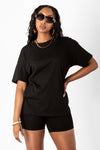 Black Cotton Boyfriend Tee & Short Set