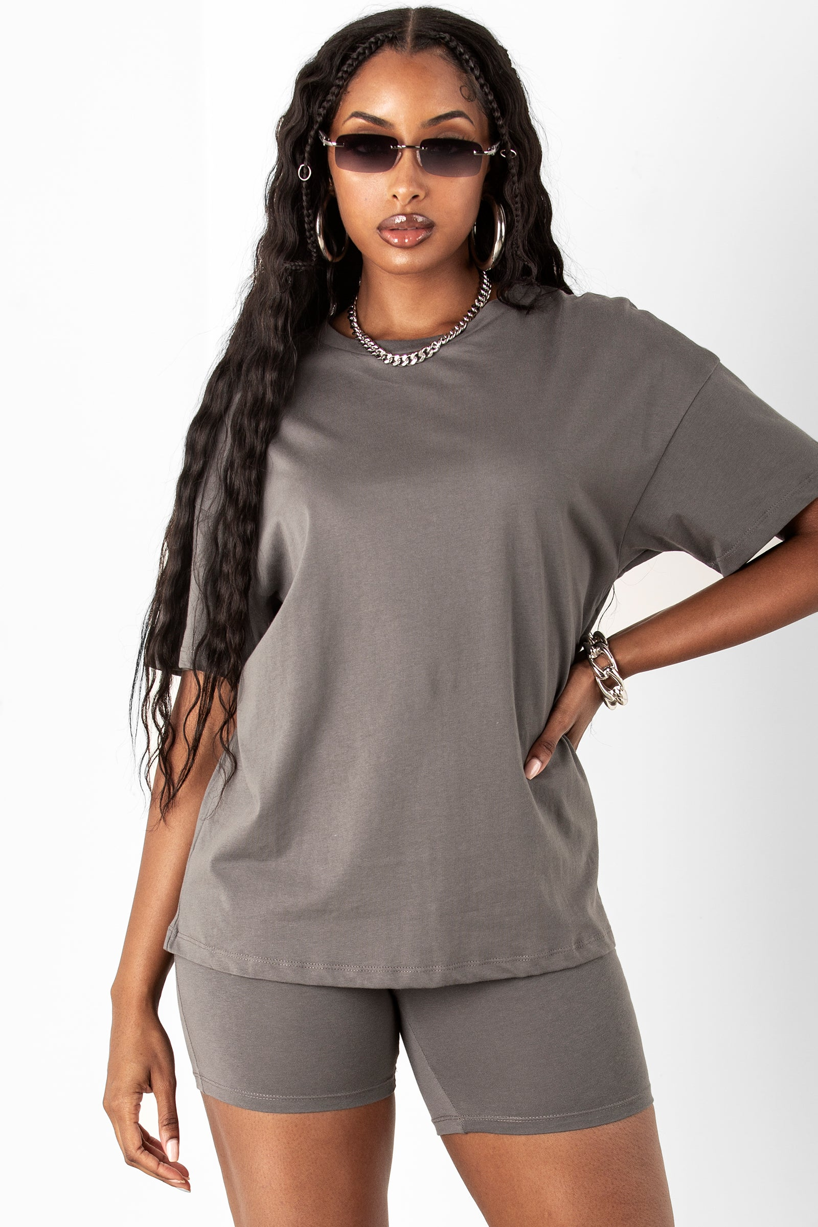 Charcoal Cotton Boyfriend Tee & Short Set