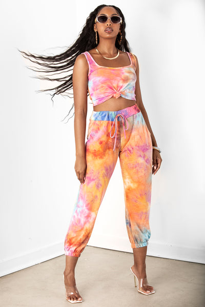Orange Tie Dye Pant Set