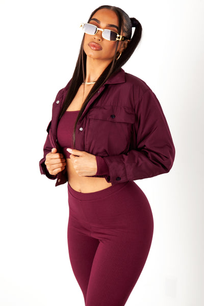 Burgundy Cropped Puffer Jacket