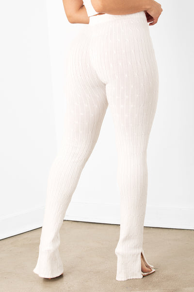 Cream Knit Ribbed Seamless Leggings