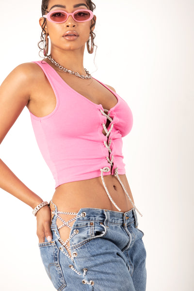 Pink Rhinestone Lace Up Crop Top