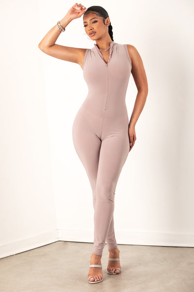 Nude Zip Up Sleeveless Jumpsuit