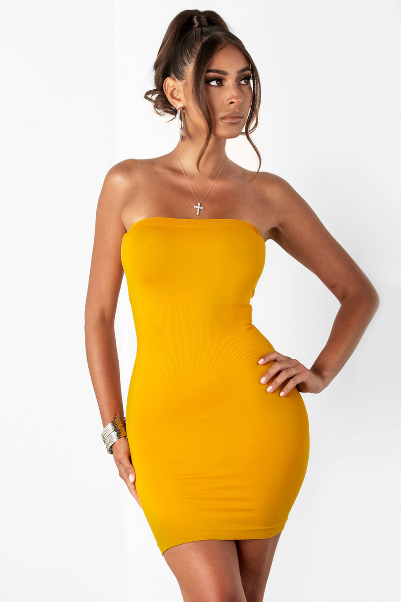 Tube Top Dress- Mustard by Sosorella, available on sosorella.com for $15 Kylie Jenner Dress Exact Product