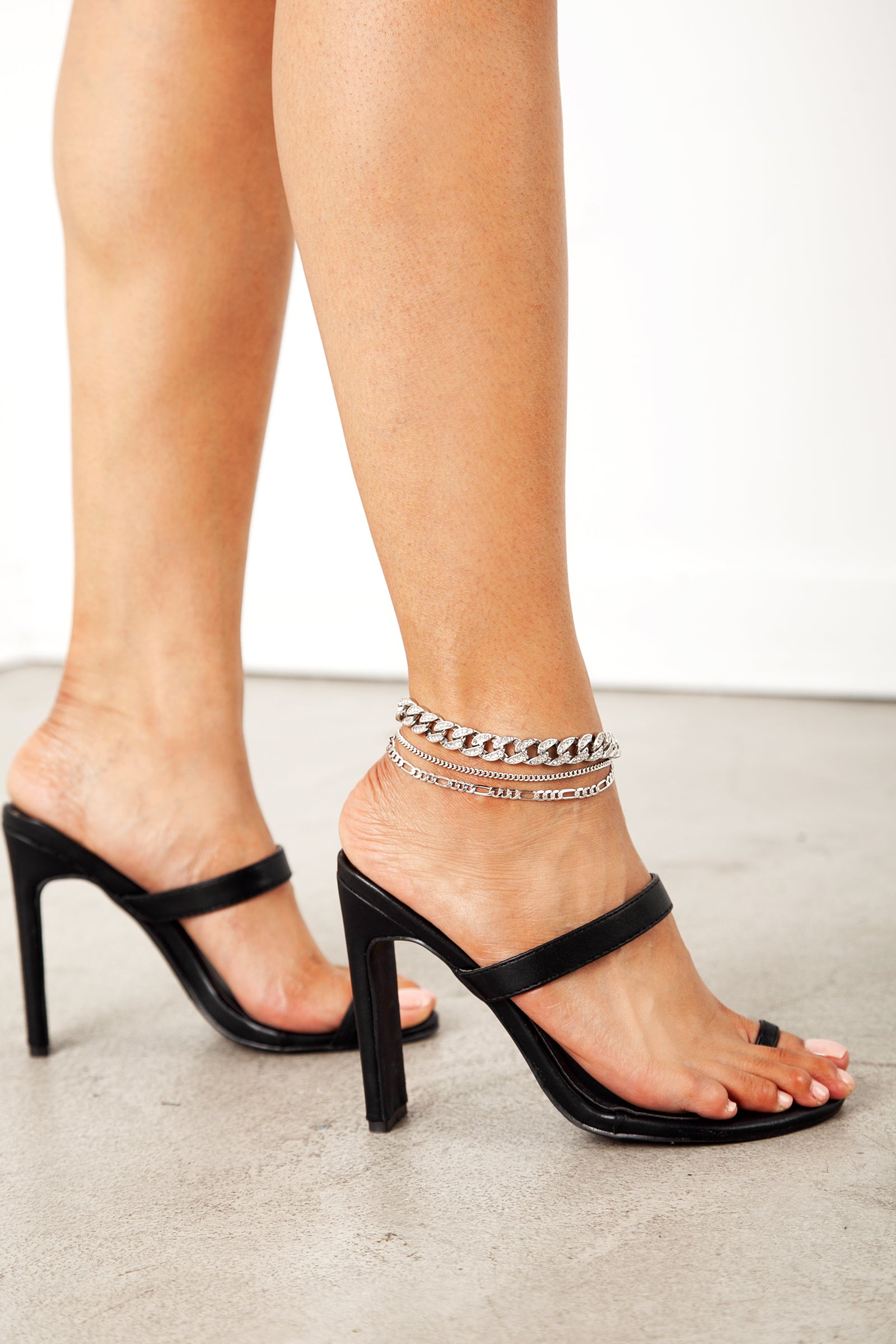 Silver 3 Layer Diamond Chain Anklet