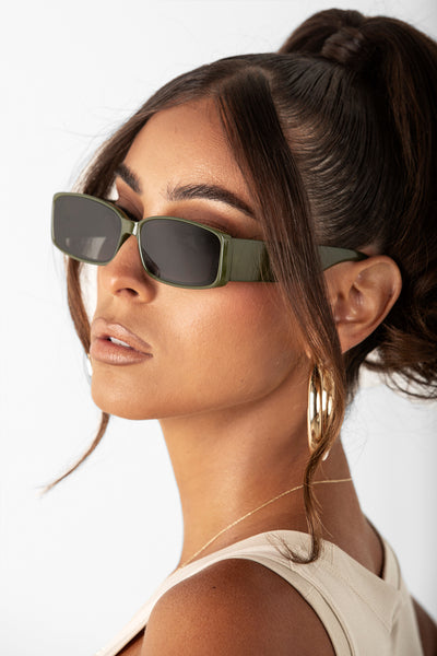 Olive After Hour Square Sunglasses