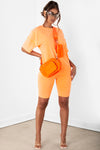 Orange Contrast stitch Biker Short Set