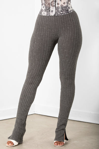 Grey Ribbed Seamless Leggings
