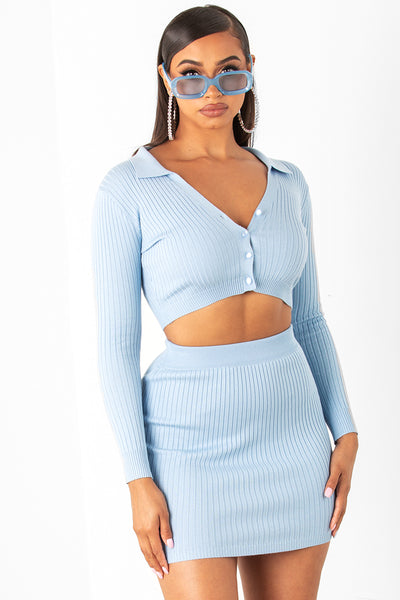Blue Long Sleeve Mini Rib Set