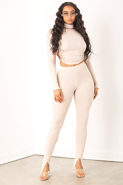 Nude ribbed long sleeve top & pant set